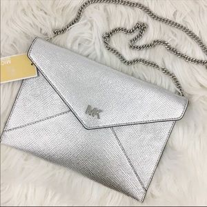Michael Kors Barbara Soft silver envelope clutch